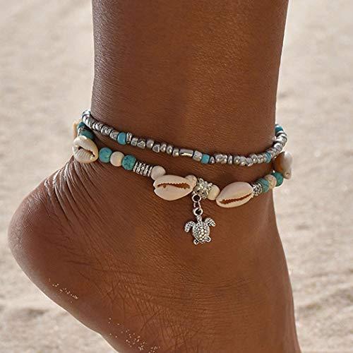 Handcess Bracelet de cheville bohème avec perles turquoises et coquillages pour femme et fille