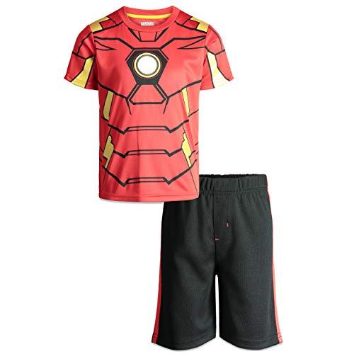 Marvel Avengers Iron Man Boys' T-Shirt & Shorts Clothing Set, Toddler (Red, 4T)