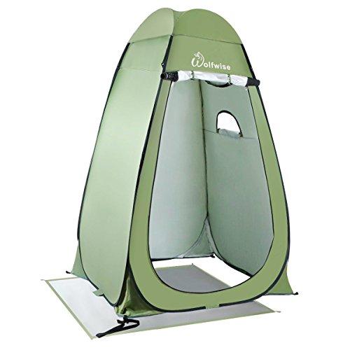 WolfWise Duschzelt Toilettenzelt, Camping Umkleidezelt Outdoor Privatsphäre Zelte, Lagerzelt Kabine mit Ablagefach, Pop up, Wasserfest, Tragbar, Hellgrün