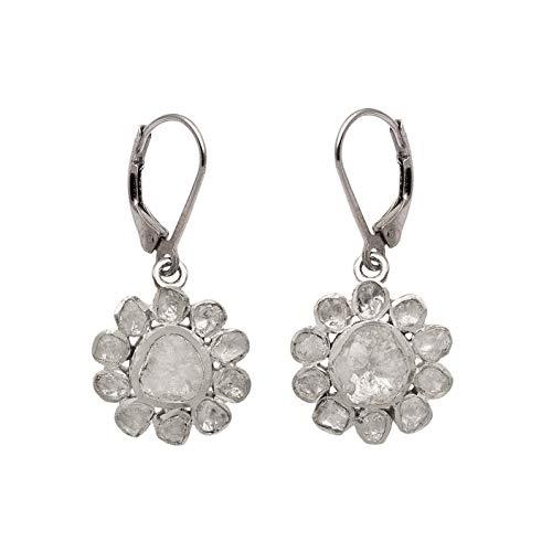 Pendientes luminosos florales con diamantes Polki de 2.50 CTW - Plata de ley 925, baño de platino de alta calidad