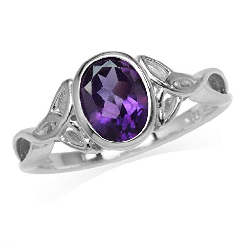Silvershake 1.12ct. 8X6mm Natural Oval Shape African Amethyst 925 Sterling Silver Triquetra Celtic Knot Ring Size 9
