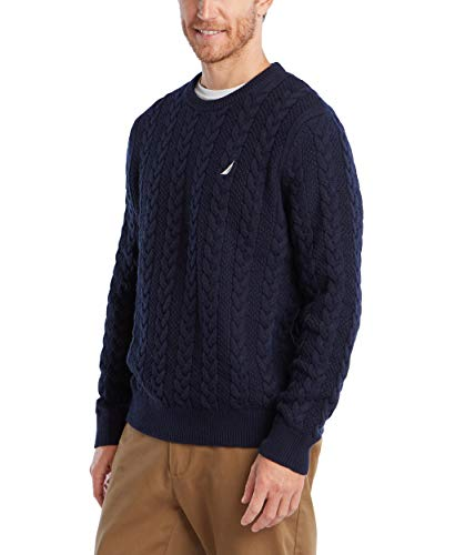Nautica Men's Classic Fit Cable Knit Sweater, Navy, Small