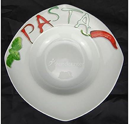 Preisvergleich für Pastateller Motiv 30cm viereckig Porzellan Teller Pasta Nudel Nudelteller