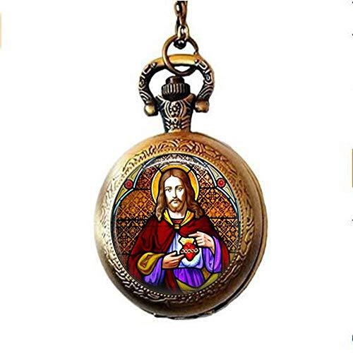 Jesus Christus Kirche Fenster Taschenuhr Halskette Glasmalerei religiöse Kunst Schmuck Geschenk