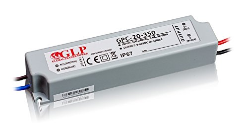 GLP Professioneller LED Trafo 350mA Konstantstrom 9-48V DC, 16.8W, Wasserfest IP67, Ideal für 1W LEDs (3-14 Stück)