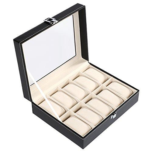 AIMADO Confezione scatola espositore per orologi e gioielli lusso in similpelle–Vetro di esposizione–10orologi–nero (EU Stock) 10 Montres