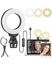 """Luce per Videoconferenza, Ring Light 4"""" Luce ad Anello per Webcam & Computer Portatile, Luce per Selfie con Stativo Treppiede & Clip per Tik Tok, Trucco, Telefono, Fotografia&Youtube"""