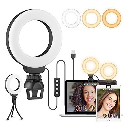 Luce per Videoconferenza, Ring Light 4  Luce ad Anello per Webcam & Computer Portatile, Luce per Selfie con Stativo Treppiede & Clip per Tik Tok, Trucco, Telefono, Fotografia&Youtube