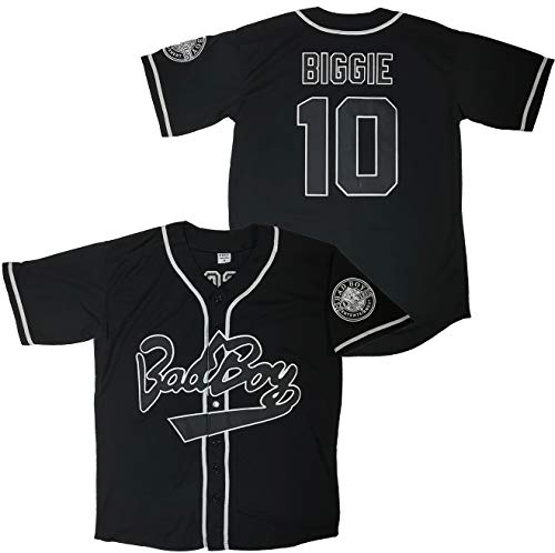Kooy Biggie Smalls Bad Boy #10 Baseball Jersey Black White Notorious B.I.G Men Summer Christmas (Black, Large)