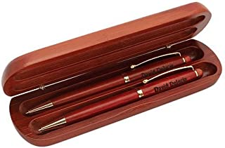 Executive Gift Shoppe | Personalized Cherrywood Double Pen Set | 2 Twist Open Ballpoint Pens | Polished Gold Tips, Barrels, Clips | Free Engraving | Perfect Business Gift | Cherrywood Presentation Box