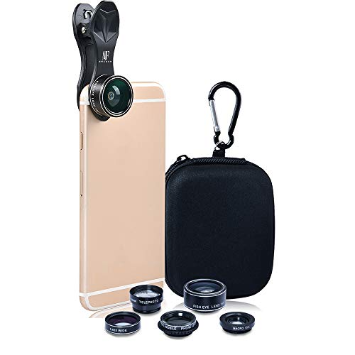 AJF Sweden Phone Camera Lens Kit 5 in 1 set for iPhone Xs/R/X/8/7/6s Pixel, Samsung. 2x Tele Lens Zoom Lens+198° Fisheye Lens+0.63X Wide Angle Lens &15X Macro Lens+CPL Smartphone, Android, iPhone Lens