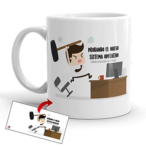 Kembilove Tazas de Desayuno Simpáticas – Tazas de Café Divertidas y Graciosas con Mensaje Probando el Nuevo Sistema Operativo – Tazas Originales de cerámica de 350 ml