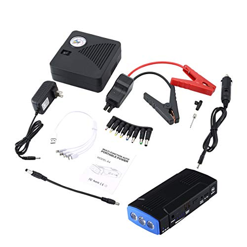A4 Super Power Car Jump Starter Power Bank Batterie de voiture Surpresseur Chargeur Portable 12V Dispositif de démarrage Essence Diesel Auto démarreur (couleur: Bleu-Version standard + pompe)