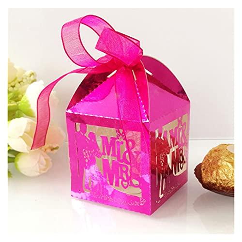 MAUAP 50 unids carruaje Favor Regalos Cajas de Caramelo con Cinta Baby Shower Boda favores y Regalos Fuentes de Bodas (Color : Reflective Red, Gift Box Size : 5x5x8 cm)