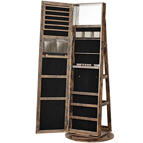 SONGMICS 360° Swivel Jewelry Cabinet, Lockable Jewelry Organizer with Full-Length Mirror, Rear Storage Shelves, Built-in Small Mirror, Jewelry Armoire, Gift Idea, Rustic Brown UJJC006X01