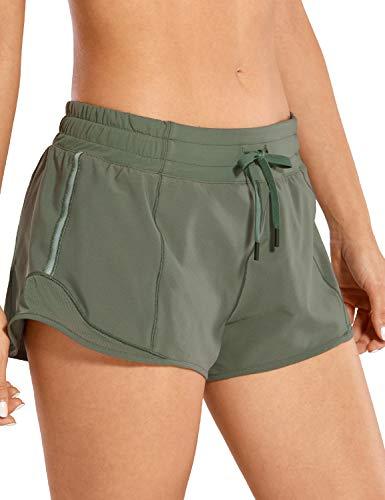 CRZ YOGA Pantalones Cortos Running Mujer con Bolsillo Trasero para Gimnasio-6cm Sabio Gris 40