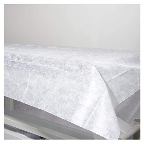 50 Einweg-Spannbettlaken, nicht verstellbar, 100% recycelbar, 80 x 200 cm. Wasserdicht und hypoallergen. Ideal für Betten, Massageliegen, Krankenhausbetten. Hergestellt in Spanien.