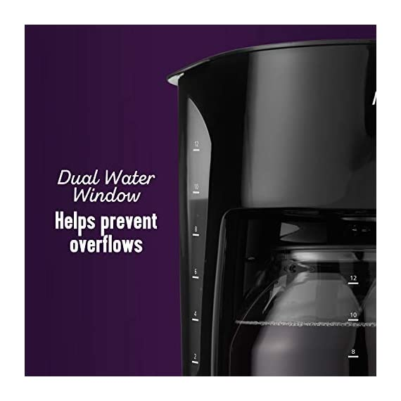Mr. Coffee 12-cup coffee maker, black 5 on/off indicator light lets you know when your coffee maker is on or off grab a cup auto pause stops cycle if you need a cup before brewing is finished dual water window allows visibility as you fill no more overflows