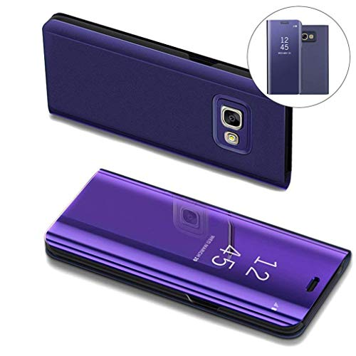 COTDINFOR Samsung J7 Prime Hülle Ledertasche Handyhülle Slim Clear Crystal Spiegel Flip Ständer Etui Hüllen Schutzhüllen für Samsung Galaxy On7 2016 / J7 Prime SM-G610 Mirror PU Purple MX.