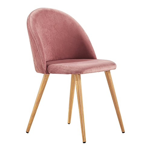 P&N Homewares Silla de terciopelo Lucia (rosa profundo) | para comedor, sala de estar, dormitorio, tocador, etc. | tapizada | patas de madera