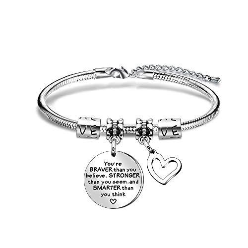 Pulsera Youre Braver para mujer, adolescente y chica, regalo inspirador para hija, sobrina, colgante de corazón, pulsera de acero inoxidable