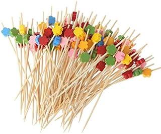 100pcs 12cm Plum Blossom Bamboo Cocktail Picks Fruit Food Sticks Disposable Toothpicks