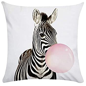 Linglingjiang Custom Zippered Throw Pillow Covers Funny Koala Giraffe Zebra Balloon Pillowcase 18 x 18  Twin Sides Style 1