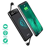 Wireless Portable Charger, Portable Charger, SANAG 10000mAh Wireless Battery Pack with Micro USB to Type-C Adaptor QC 2.0 Ports and LED Displaly, Built in Cables for iPhone, iPad, Samsung and More