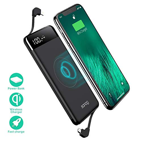 Wireless Portable Charger, SANAG 10000mAh 10W Fast Qi Wireless Power Bank with 18W Power Delivery, Type-C, QC 2.0 Ports and LED Displaly External Battery Pack for iPhone, iPad, Samsung and More