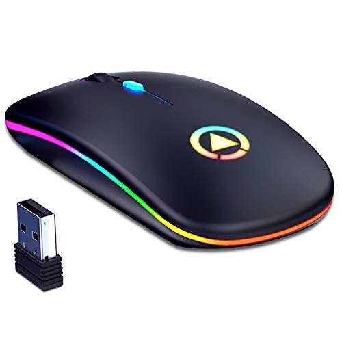 CAICOME Souris sans fil rechargeable, ultra fine, 1600DPI, 2,4GHz, pour ordinateur portable, PC, Mac