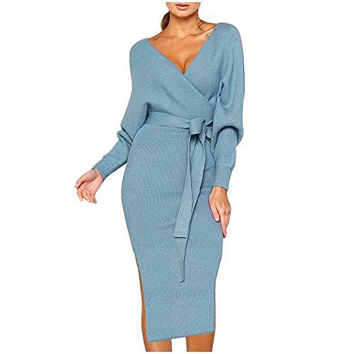 Vectry Damen Sukienka z dzianiny, jednokolorowa, sukienka midi, duży rozmiar, z długim rękawem, dekolt w serek, seksowna sukienka zawijana, z rozcięciem bocznym, długa sukienka na czas wolny, sukienka wieczorowa, sukienka ołówkowa, rozmiar S-5XL