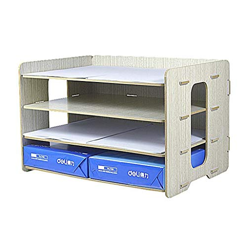 WJF Office Desk-Dateikorb Aus Holz A3 Desktop-Büro Dateihalter Mehrschichtig Datenspeicherung Regal Archivbox (Farbe : #4)