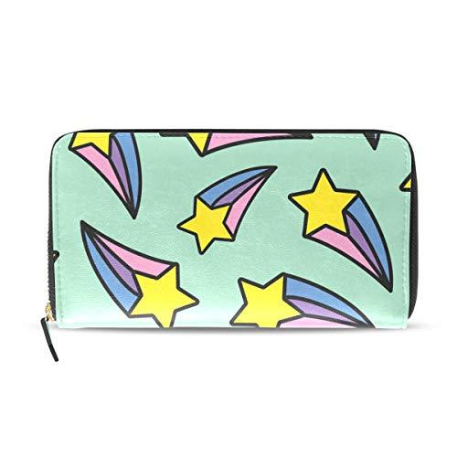 Creative Stars - Cartera de piel sintética con cierre de cremallera, diseño de estrellas, rectangular, ideal como regalo de Navidad, cumpleaños para mujeres, niñas, adolescentes y niños