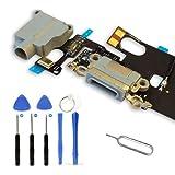Infigo USB-Dock Connector passend für Apple iPhone Ladebuchse Audiojack Mikrofon mit Werkzeugset (iPhone 6, Spacegrau)
