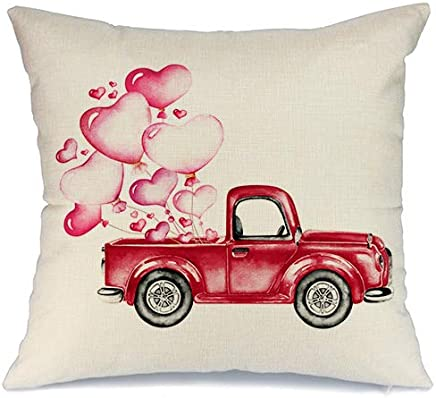 AENEY Valentines Pillow Cover 18x18 for Couch Red Truck Hot Love Red Pink Sweet Heart Happy Valentine's Day Decorations Throw Pillow Home Decor Pillowcase Faux Linen Cushion Case Sofa A182