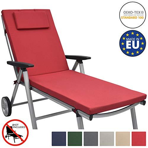 Beautissu Loft RL Auflage für Gartenliege 200x60x5 cm UV-Beständige Sonnenliege Auflage mit Reißverschluss Rot erhältlich
