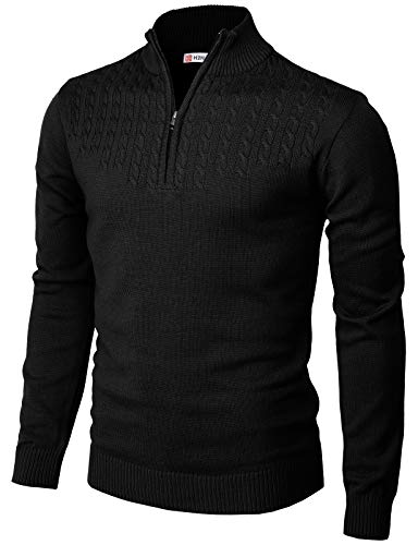 H2H Mens Casual Slim Fit Pullover Sweaters Mock Neck Zip up Twisted Patterned Black US XL/Asia 2XL (CMOSWL046)