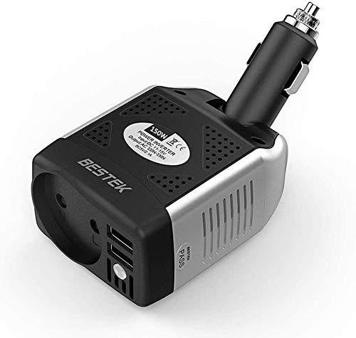 BESTEK Convertisseur Chargeur Allume Cigare Onduleur Transformateur avec 2 Ports USB Onduleur 12V 220V 150W Prise EU