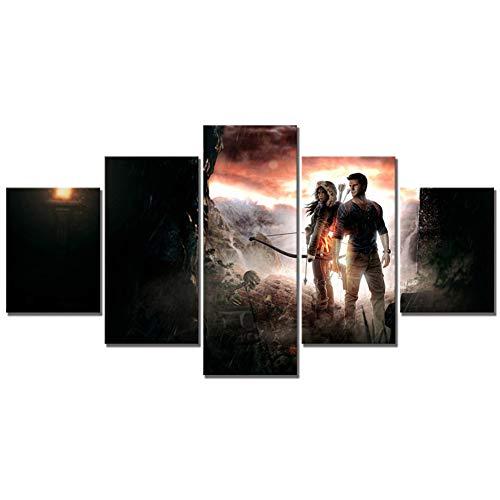 ADGUH Cuadro sobre LienzoArte de Lienzo de 5 Piezas Uncharted The Lost Legacy Juego Poster Pinturas Fantasy Art HD Wall PictureImpresiones en Lienzo