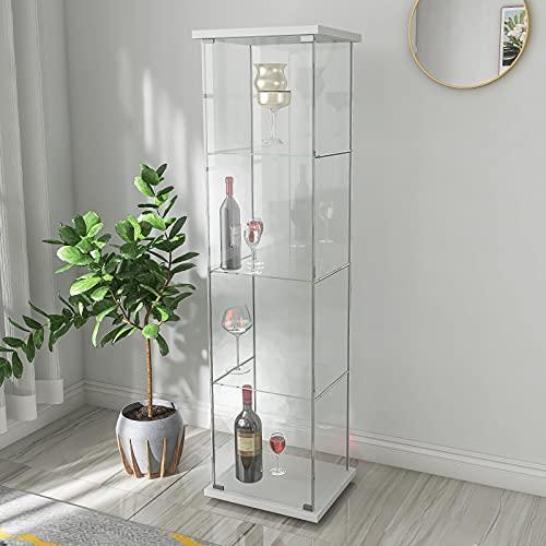 Gona Vitrina de cristal de pie con 3 estantes de cristal, para estanterías en el salón, dormitorio y oficina, 162 x 43 x 36,8 cm, perfecta para coleccionistas, color blanco