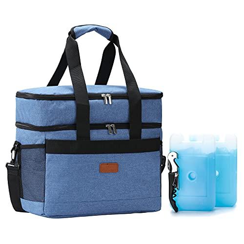 REALER Nevera portátil plegable de 31 L con abridor de botellas y batería de refrigeración, impermeable como bolsa aislante, bolsa de pícnic, bolsa térmica para camping, viajes, playa, barbacoa, pesca