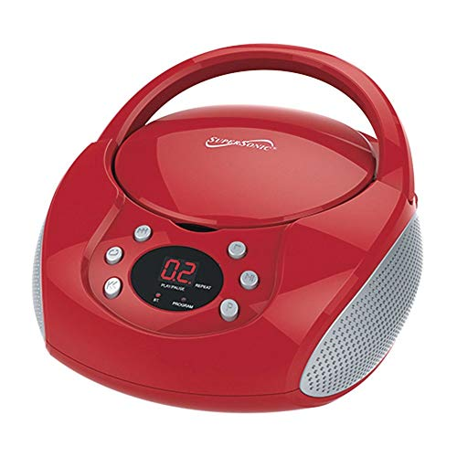 SuperSonic - Bluetooth Portable CD Player, Boomboxes - Red (SC-515BT)