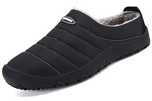Zapatillas de Estar por Casa Mujer Hombre, Invierno Zapatos de Casa con Forro de Piel - Cálidas y Cómodas - con Suela Antideslizante para Exterior e Interior,Negro 42