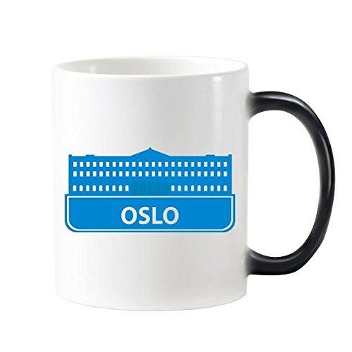 DIYthinker Patrón Oslo Noruega Landmark Morphing Azul Sensible Al Calor Taza Cambiante del Color Taza De La Leche del Café con Asas 350 Ml