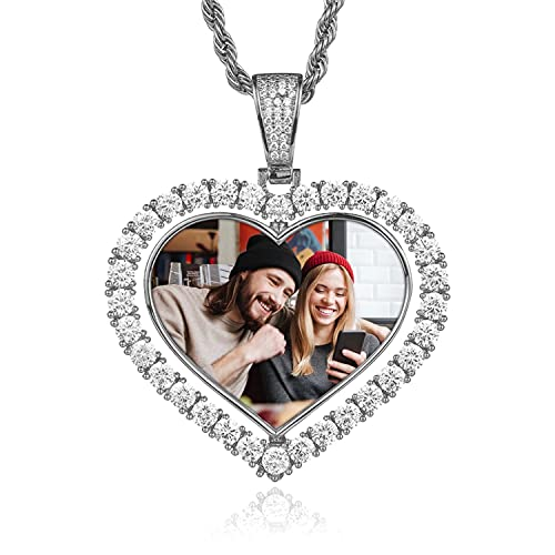 Cadena de fotos personalizada corazón de amor de doble cara texto de foto personalizado corazón etiqueta de nombre tallada con collar de cadena de tenis hombres y mujeres