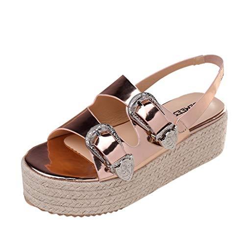 iYmitz High Heels Stiletto SchuheSommer Frauen Open Toe Sandalen Mode Gürtelschnalle Flachen Sandalen Wild Beach Schuh Sandaletten(Gold,EU/37)