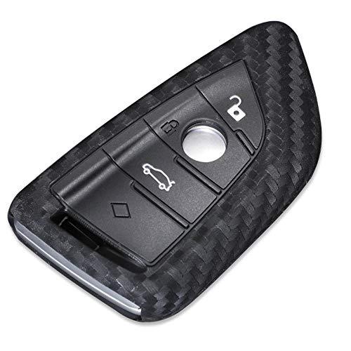 Cover per chiave auto in fibra di carbonio in silicone compatibile con BMW X5 X6 F16 F15 Serie 5 2014 telecomando di protezione portachiavi