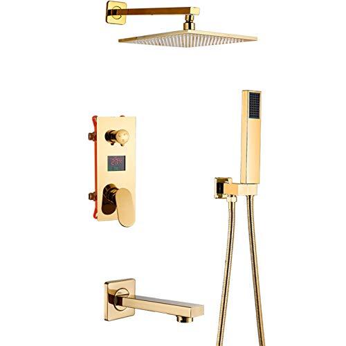 Sistema de ducha con pantalla de temperatura dorado, cabezal de ducha de lluvia con LED que cambian de 3 colores, grifo de ducha con caño de bañera, grifo mezclador de ducha de baño