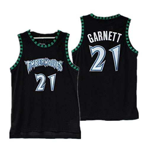 Miyapy Basketball Jersey Timberwolves #21 Garnett Sommer Herren Trikot Basketball Uniform Stickerei Tops Basketball Anzug Trikots Schwarzgold-Trikot