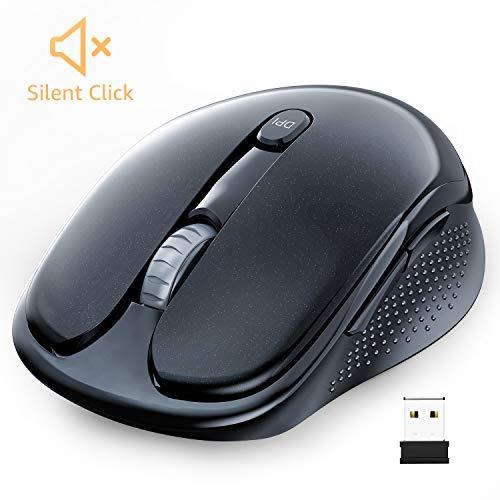WisFox Kabellose Maus, Silent Kabellose Maus Optische Maus Computermaus mit USB Nano Empfänger 3 Einstellbare DPI Pegel Tragbare & Kompakte 6 Tasten Funkmäuse für Windows, Mac (ohne Klickgeräusche)